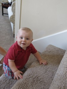 Henry learning to climb the stairs